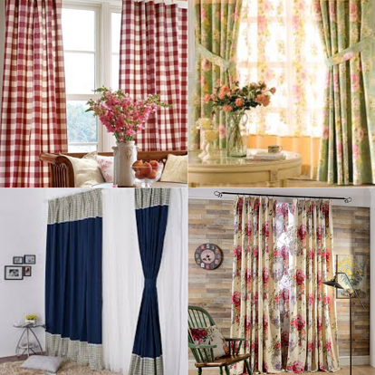 Collage of country window treatments
