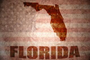 The state of florida with a faded American flag behind it and Florida spelled out under the state icon