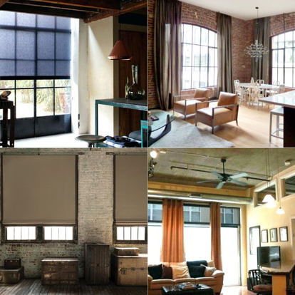 Collage of industrial window treatments