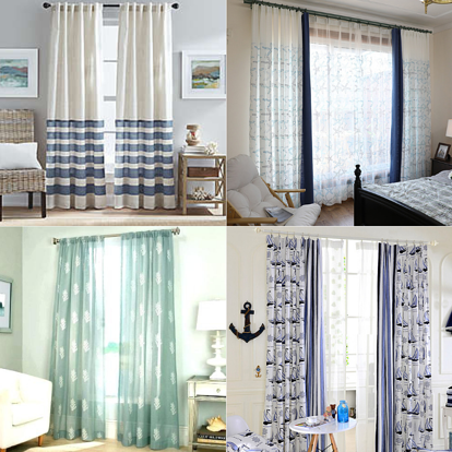 Collage of nautical window treatments