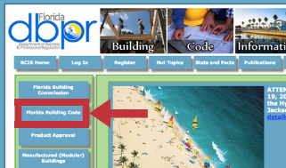 Screenshot of Florida building code website