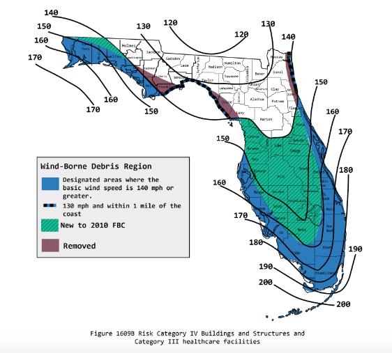 High Velocity Hurricane Zone Florida wind map