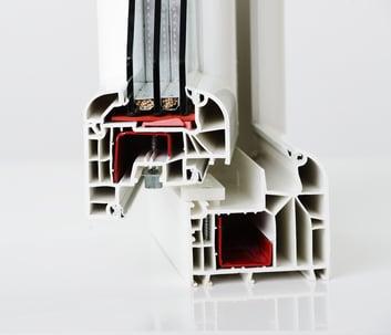 Plastic window frame material profile