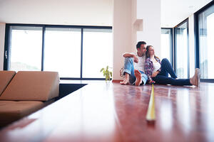 happy young romantic couple at new modern  home interior renovation-2